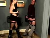 Dominatrix gets rough at the gloryhole