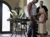 Sexy blond sucks huge black cock