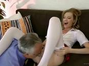 Cute Chick  Gets Screwed By One Mature Dude