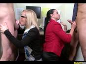 Kinky Bitches Fuck With Naked Studs Inside Office