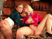 Fully Clothed Gals Enjoy One Eager Boner At The Bar
